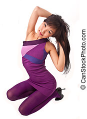 asian girl in violet dress