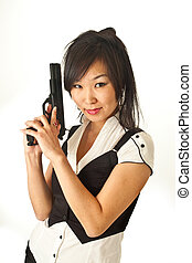 The Asian girl with a handgun