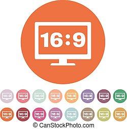 The aspect ratio 16 9 widescreen icon. Tv and video symbol