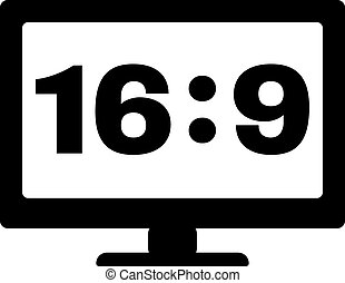 The aspect ratio 16 9 widescreen icon. Tv and video symbol. Flat