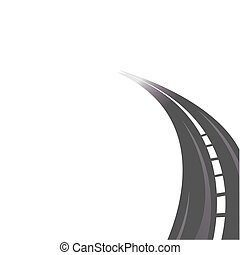 The asphalted road leaving in a distance on a white background. Vector