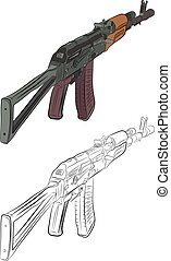 assault rifle ak 47 contour drawing in pencil