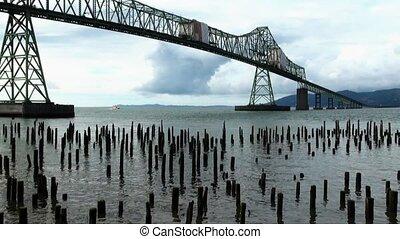 Astoria-Megler Bridge, Columbia River and wood pylons, Astoria, Oregon USA