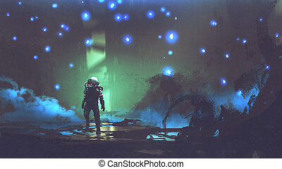 the astronaut in an alien forest
