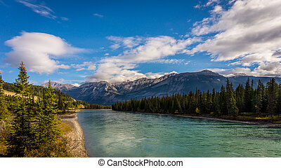 The Athabasca River viewed from the Maligne Road bridge. The...