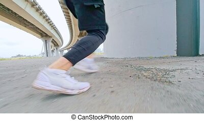 The athlete does a flip with a run