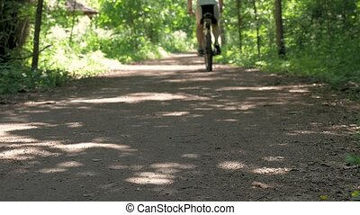 The athlete man drives through the forest on a bicycle. Healthy lifestyle.