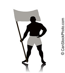 The Athlete raises the flag, on white background. The Vector.