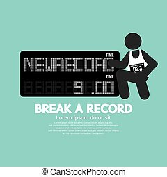 The Athlete With Break A Record Banner Vector Illustration
