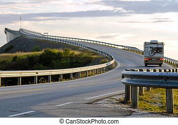 the Atlantic coast road with motorhome