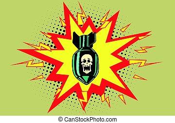 The atomic bomb and skeleton. Comic book illustration pop ...