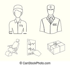 The attending physician, the nurse, the cardiogram of the heart, the dental chair. Medicineset collection icons in outline style vector symbol stock illustration web.