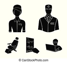 The attending physician, the nurse, the cardiogram of the heart, the dental chair. Medicineset collection icons in black style vector symbol stock illustration web.