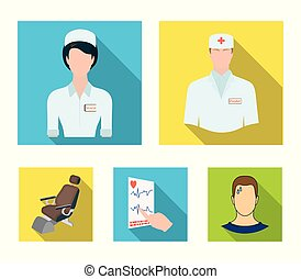 The attending physician, the nurse, the cardiogram of the heart, the dental chair. Medicineset collection icons in flat style vector symbol stock illustration web.