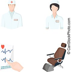 The attending physician, the nurse, the cardiogram of the heart, the dental chair. Medicineset collection icons in cartoon style vector symbol stock illustration web.
