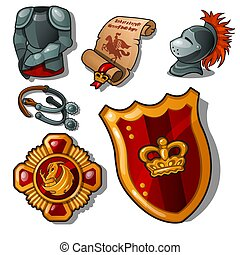 The attributes of a medieval knight isolated on white background. Armor, shield and reward. Vector illustration.