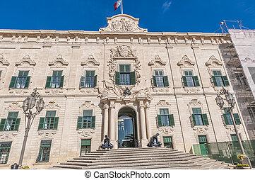 The Auberge de Castille in Valletta, Malta