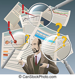 The Auditor - Illustration with auditor analyzing financial...