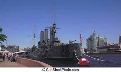 The Aurora cruiser in Saint-Petersburg. 4K