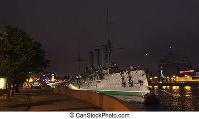 The Aurora cruiser in Saint-Petersburg. Night. 4K