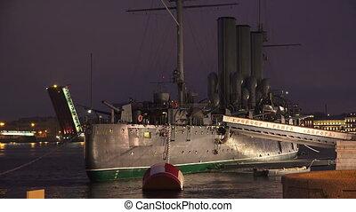 The Aurora cruiser in Saint-Petersburg. Night.
