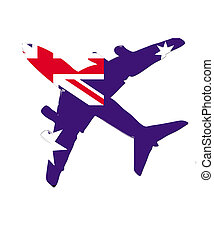 The Australia flag painted on the silhouette of a aircraft. glossy illustration