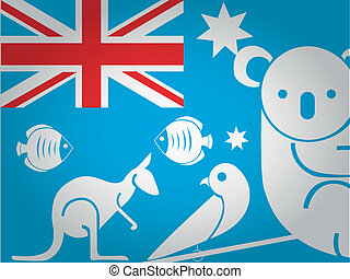 the australia flag with some white sillhouettes of animals