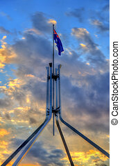 The Australian flag on top of Parliament House in Canberra