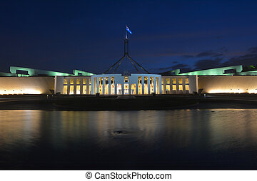 The Australian Parliament House in Canberra at dusk