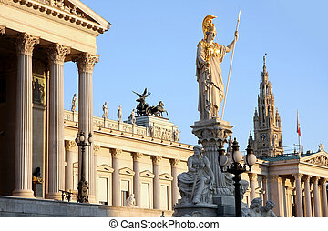 The Austrian Parliament, Rathaus and Athena Fountain in Vienna, Austria