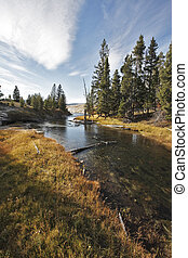 The autumn day in Yellowstone park