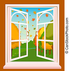 autumn landscape - The autumn landscape in Wood window. ...