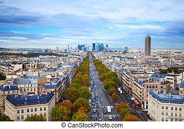 Avenue de la Grande from Arc de Triumph to La Defence view from above