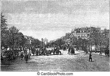 The Avenue des Champs-Elysees in Paris France vintage...