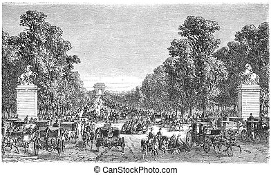 The Avenue des Champs-Elysees is a prestigious avenue in Paris, France. Engraving from Scribner's magazine september 1872
