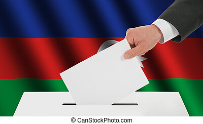 The Azerbaijani flag and the hand with the bulletin about ...