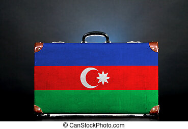 The Azerbaijani flag on a suitcase for travel.