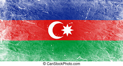 The Azerbaijani flag painted in vintage style