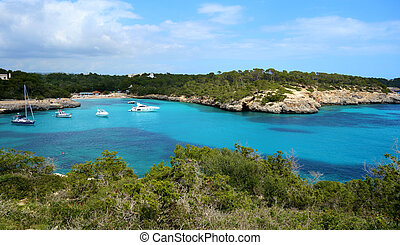 The azure waters of S'Amarador, Mallorca, Spain