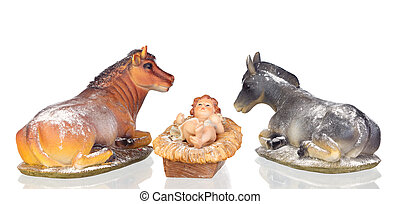 The Baby Jesus in the manger with the ox and the mule