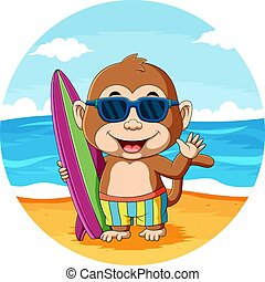 The illustration of the baby monkey holding the surfing board and using the sunglasses in the beach
