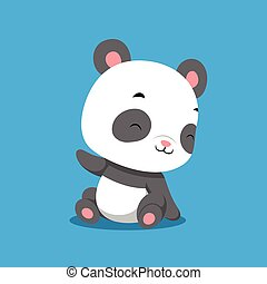 The baby panda with the happy face is sitting on the solid background