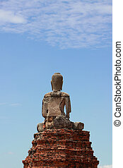 The back of the Buddha statue on blue sky background at Chaiwatthanaram (Prosperity of victory) Temple Ayutthaya.