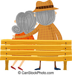 The back view of old couple on the bench