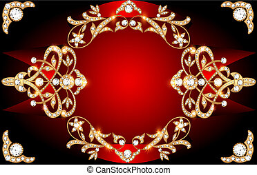 The background image with precious stones, gold pattern and ...