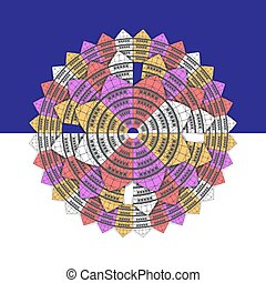 The background is a geometric mandala ornament in the form of a flower of colorful houses on an isolated blue and white background. Background design element. Vector image.