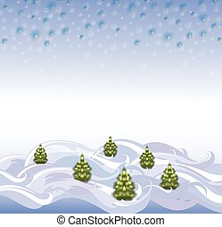 The background landscape with Christmas trees and snowflakes. EPS10 vector illustration