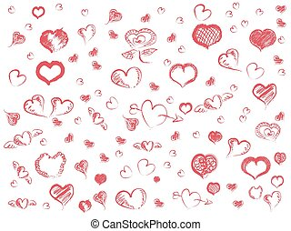 doodle red hearts seamless pattern