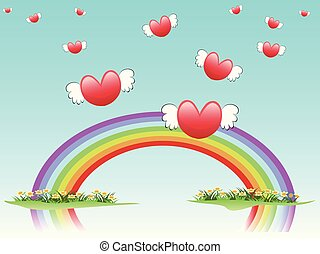 flying hearts on rainbow