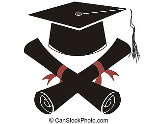 isolated black graduation cap and diploma